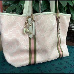 Gucci blush monogram tote bag.